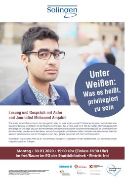"Lesung ""Unter Weißen"" mit Mohamed Amjahid @ Stadtbibliothek Solingen"
