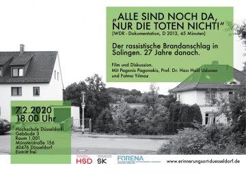 """""""Alle sind noch da, nur die Toten nicht."""" Der rassistische Brandanschlag in Solingen. 27 Jahre danach. Film und Diskussion @ Hochschule Düsseldorf"""